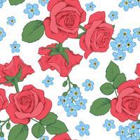 Roses rouges et fleurs de myosotis sur fond blanc. Modèle sans couture. Illustration vectorielle