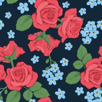 Roses rouges et fleurs de myosotis sur fond bleu foncé. Modèle sans couture. Illustration vectorielle