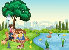 Vacances en famille au parc vecteur