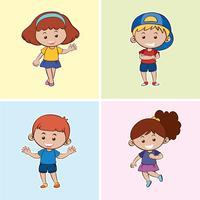 Quatre enfants avec un sourire heureux vecteur