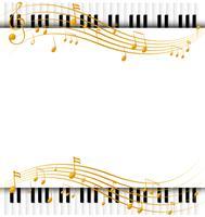 Modèle de bordure avec claviers de piano et notes de musique vecteur