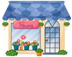 Extérieur du magasin de fleurs vecteur