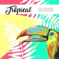 Feuilles tropicales et bannière d'été toucan.