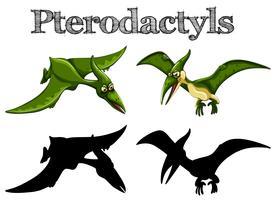Pterodactyles en vert et silhouette