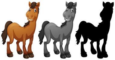 Ensemble de personnage de cheval vecteur