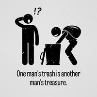 Un homme poubelle est un autre homme trésor. vecteur