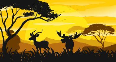 Scène de silhouette avec gazelle et élan au coucher du soleil vecteur