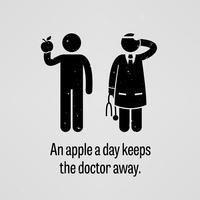 Une pomme par jour garde le docteur loin. vecteur