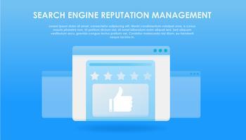 Bannière Services de gestion de la réputation des moteurs de recherche. Fenêtre du navigateur avec notes, commentaires et réactions des utilisateurs du site. Vecteur plat dégradé