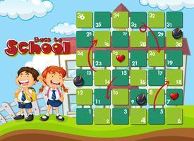 Retour au modèle de jeu de plateau scolaire vecteur