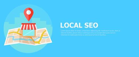 Bannière de référencement local, carte et boutique en vue réaliste. illustration plate vecteur