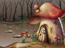 Maison aux champignons à côté du marais vecteur
