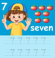 Nombre sept feuilles de calcul alphabet traçant vecteur