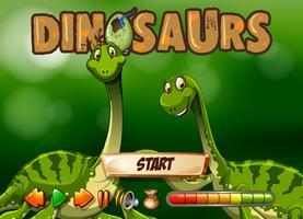 Modèle de jeu avec deux dinosaures vecteur