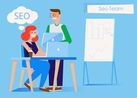 Bannière de l'équipe marketing. Homme et femme dans le bureau à l'ordinateur et tablette. Graphes, tableaux et diagrammes. Illustration de plat Vector