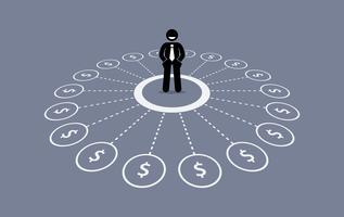 Homme d'affaires avec source multiple de revenus financiers. vecteur