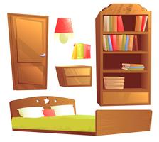 Mobilier moderne pour la décoration intérieure de la chambre. Jeu d'illustration vectorielle dessin animé vecteur
