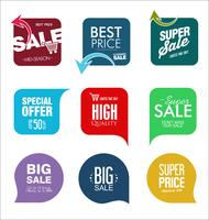 Conception de modèles de bannière de vente et collection d'étiquettes d'offre spéciale vecteur