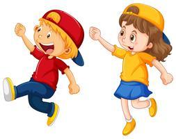 Garçon et fille portant des casquettes vecteur
