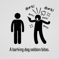 Un chien qui aboie rarement mord. vecteur