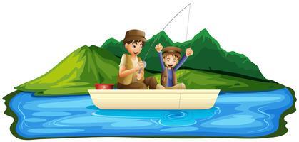 Père et fils pêchant dans le lac vecteur