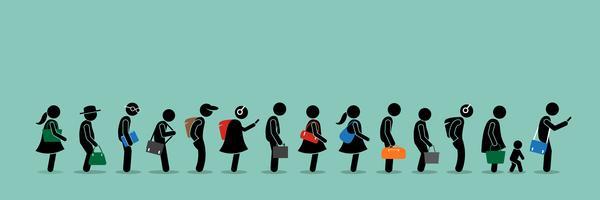 Les gens font la queue dans une longue file d'attente.