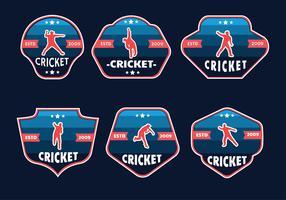 Pack vecteur de badges joueur joueur de cricket