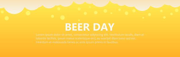 Fond de bannière de jour de bière. Illustration de plat Vector