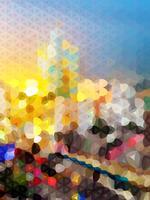 Silhouette de la ville de vecteur de polygone au crépuscule