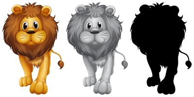 Ensemble de personnage de lion vecteur