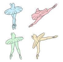 ensemble de ballet. ballerine en pointes et tutu. les jambes du danseur. dessin au trait. vecteur