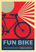 Conception de vecteur affiche vélo rétro amusant