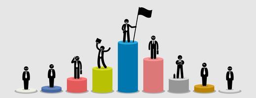 Beaucoup d'hommes d'affaires différents se tenant sur des graphiques à barres comparant leur situation financière.