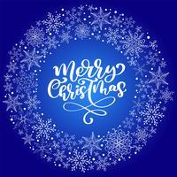 Texte de vecteur de joyeux Noël calligraphie avec des flocons de neige. Lettrage design sur fond bleu. Typographie créative pour l'affiche de cadeau de souhaits de vacances. Style de police Bannière