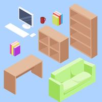 Set de bureau isométrique illustration vectorielle vecteur