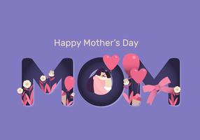 Illustration de plat Papercut Vector fête des mères