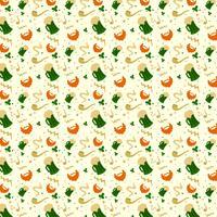 Modèle de jour de St. Patrick avec bière, pipe, feuilles et barbe orange vecteur