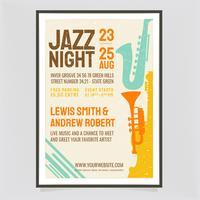 Affiche rétro de nuit jazz de vecteur
