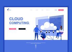 Concept de modèle de conception de page web plat moderne de technologie Cloud vecteur