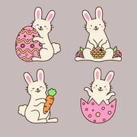 Collection mignonne de lapin de Pâques avec des oeufs, des fleurs et des carottes. vecteur