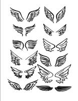 Ensemble de vecteur dessinés à la main des ailes