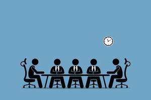 Brainstorming et discussion entre hommes d'affaires. vecteur