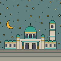 Mosquée avec un ciel étoilé sur le fond vecteur