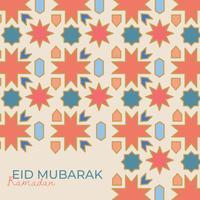 Mosaïque arabe avec lettrage eid mubarak vecteur