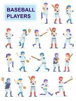 Ensemble de joueurs de baseball à l'uniforme classique vecteur