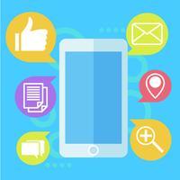 Bannière de marketing mobile. Téléphone avec mail icon. Illustration de plat Vector