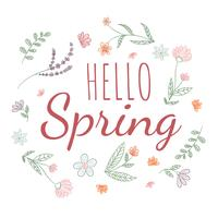 Feuilles mignons et fleurs botaniques avec citation de printemps