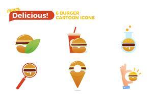 Jeu d'icônes Burger cartoon. Concept de logo de livraison de restauration rapide. Illustration vectorielle