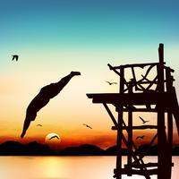 Silhouette et homme sautant au crépuscule avec un ciel bleu.