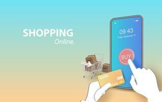 illustration des achats en ligne sur Mobile Application Vector
